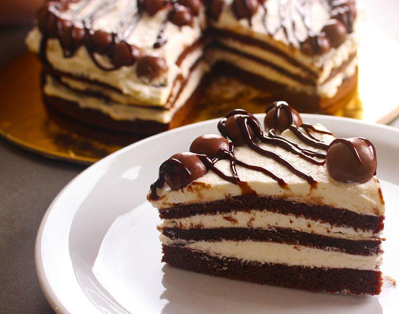 كيك الشوكولاتة في المقلاة 3 طبقات